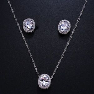 New  silver CZ necklace & stud earrings set ..